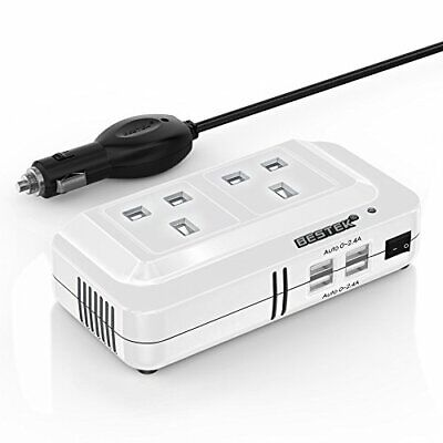 BESTEK 200W Power Inverter DC 12V To AC 230V 240V Dual Socket Car Voltage With 4 • 27.99£
