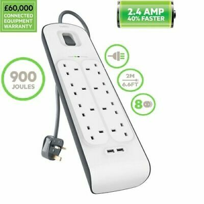Belkin 8 Way 2m Surge Plus Protection Strip With 2x 2.4Amp Shared 2 USB Charging • 21.95£