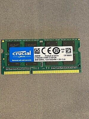 Crucial 8 GB DDR3L-1333 SODIMM  CT8G3S1339M.C16FER FOR IMac • 23£