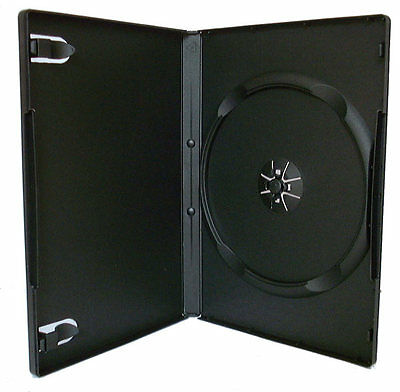 100 X Single DVD Case Cases 14mm Spine Standard Black Clear Front Cover Sleeve • 19.99£