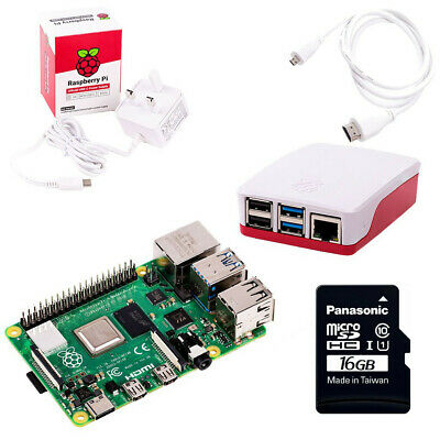 Raspberry Pi 4 Starter Kit With 4GB RAM & 16GB MicroSD (2019 Model) • 80£
