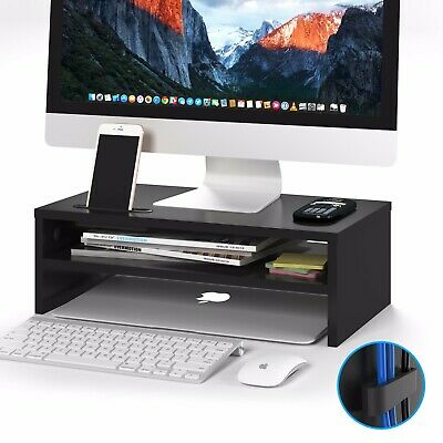 Wood Monitor Stand Speaker TV Laptop Computer Screen Riser 42cmWidth Shelf Black • 14.99£