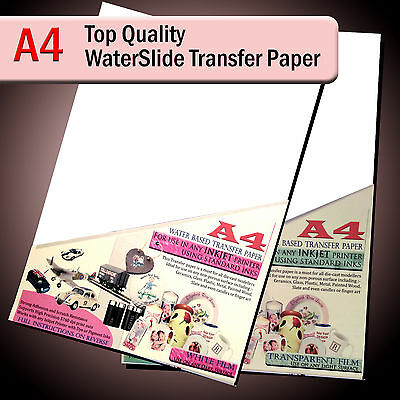 Water Slide Decals - WaterSlide Transfer Paper - A4 Inkjet - Clear Or White Lot • 8.25£