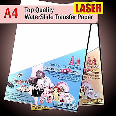 Water Slide Decals - WaterSlide Transfer Paper - LASER A4 - Clear Or White Lot • 8.25£