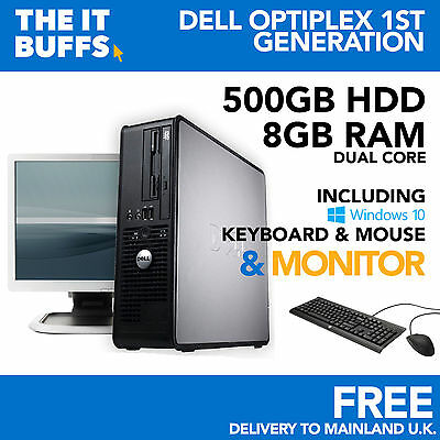 Dell - Dual Core 8GB RAM 500GB HDD Windows 10 - Full Bundle Desktop PC Computer • 84.99£