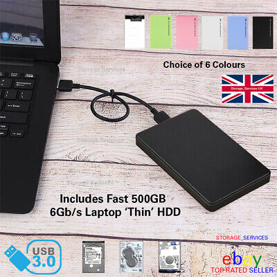 External 500GB USB3 2.5  Slim Portable Hard Drive HDD For PC/Laptop/Mac/PS4/XBOX • 27.85£