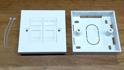 Kauden CAT5e RJ45 Modules In Double Faceplate 2 Port Network Socket + Back Box • 3.99£