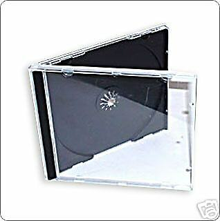 25 CD JEWEL CASES COMPLETE WITH BLACK TRAYS / GRADE A - 10.4 Mm SPINE - NEW • 8.19£
