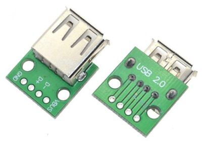 2 X USB Type A Female Socket Breakout Board 2.54mm Pitch Adapter Connector DIP • 2.49£