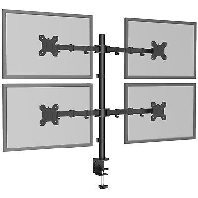 "Quad Four Arm Desk Mount LCD Computer Monitor Bracket Stand 13""-27"" Screen TV • 33.59£"
