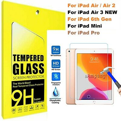 Tempered Glass Film Screen Protector For Apple IPad 1 2 3 4 Mini Air Pro 11 10.2 • 4.75£