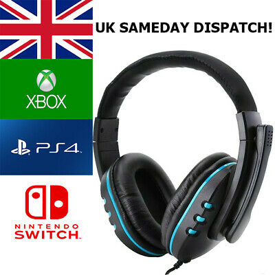 Gaming Headset For Xbox One, PS4, Nintendo Switch & PC 3.5mm Headphones • 18.99£
