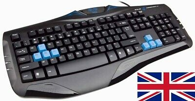 Gaming Keyboard Mechanical 104 Keys Blue LED Professional 8 Replaceable Keycaps • 11.99£