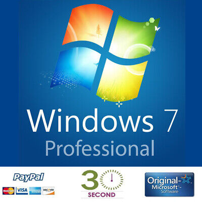 Microsoft Windows 7 Professional Full Complete Version 32 & 64 Bit Product Key • 6.99£