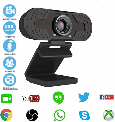 Full HD 1080P Webcam With Microphone USB For PC Desktop Laptop NEW UK Stock • 20.79£