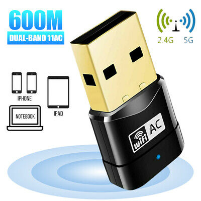 600Mbps 2.4-5ghz USB Dual Band Wireless WiFi Dongle Adapter 802.11 AC Laptop Ns • 5.82£