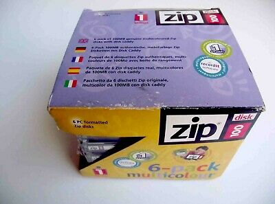 6 Pack Iomega ZIP 100MB Disks With Jewel Cases + Zip Caddy - PC Format - Sealed • 16.99£