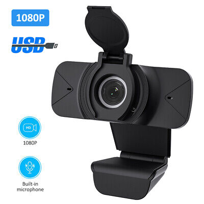 1080P HD Webcam USB With Privacy Cover Microphone For Distant Teaching Learning • 10.33£