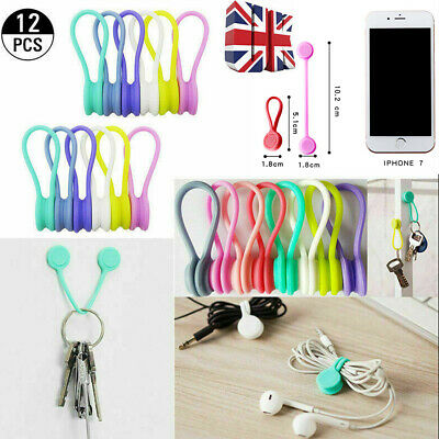 12pcs Magnetic Silicone Cord Organisers Clips Earphone Wire Wrap Cable Ties Bowl • 6.99£