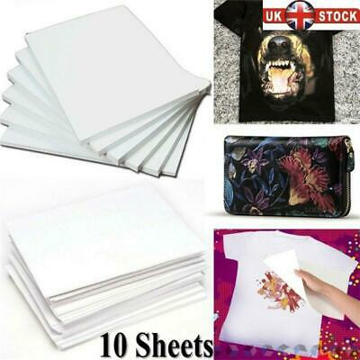 10Pc A4 Heat Transfer Paper For DIY T-Shirt Iron-On Paper For Light Fabric Cloth • 4.83£