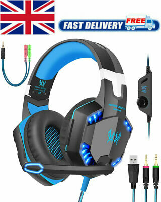 3.5mm Gaming Headset MIC LED Headphones For PC SW Laptop PS4 Slim Xbox One X S • 15.95£