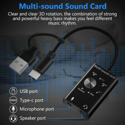 Headset 7.1 External Sound Card For Laptop USB Audio 3D Sound Card Micropho TDUK • 12.03£