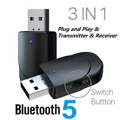 3in1 USB Bluetooth 5.0 Audio Transmitter Receiver Adapter For TV PC Car AUX • 3.99£