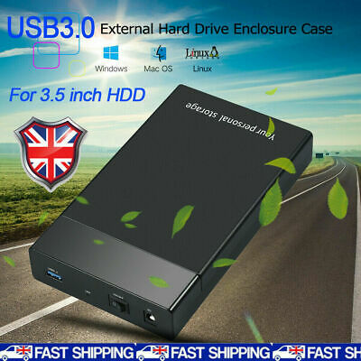 USB 3.0 To 3.5inch SATA III 5Gbps External Hard Drive Disk HDD Enclosure Case UK • 13.89£