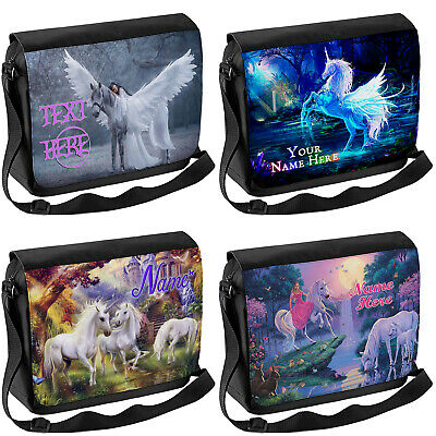 Personalised Unicorn School Shoulder Bag Travel Laptop Case Messenger Girls Gift • 16.95£