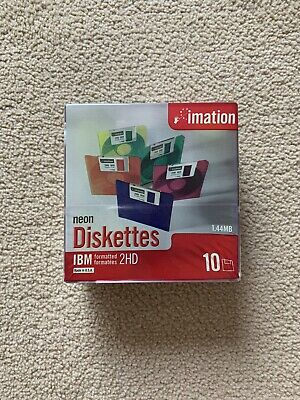 Imation 10 Neon Diskettes Floppy Disks 1.44mb Brand New In Box Cellophane • 11.10£
