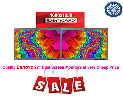 Cheap 2 X 22  INCH Dual LENOVO Widescreen LED LCD Monitor 1680 X 1050 No Stand • 59.99£