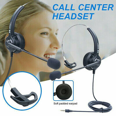 3.5MM Call Center Headset Noise Cancelling Telephone Operator Headphone With Mic • 7.99£