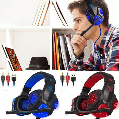 Wired Gaming Headset Stereo Headphone  With Mic For PC Laptop PS4 Xbox One • 10.99£