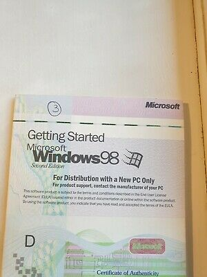 Microsoft Windows 98 Getting Started Book With Serial Number • 10£
