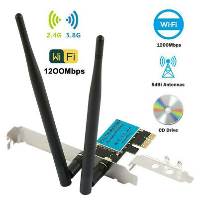 Wireless 1200Mbps PCI-E WiFi Card 2.4/5GHz Dual Band Network Adapter Desktop PC • 13.88£