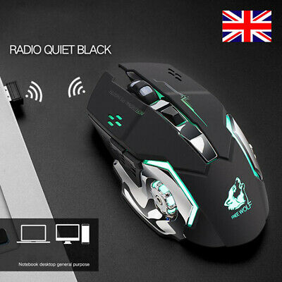 Gaming Mouse LED Wireless Mice For PC Laptop Computer Silent Rechargeable • 8.54£