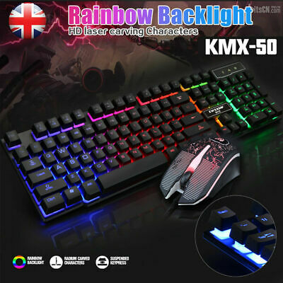 Gaming Keyboard Mouse Set Rainbow LED Wired USB For PC Laptop PS4 Xbox One 360UK • 5.89£