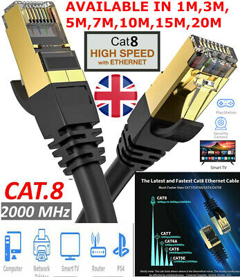 CAT8 Gigabit High Speed Black RJ45 Network Ethernet Gold Plated Cable 10Gbps UK • 7.99£
