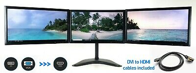 TRIPLE SCREEN MONITOR SETUP + STAND FOR PC HOME OFFICE 3 X 22  FULL HD 1920x1080 • 199.99£