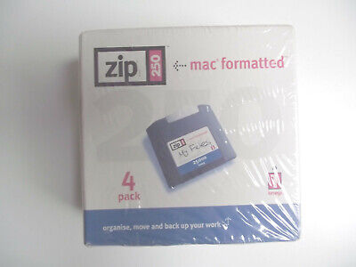 Iomega Zip Disks 250 MB Pack Of 4 With Cases - MAC Format - Sealed • 22.99£