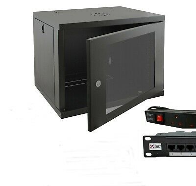 12u 600mm 19  Black Wall Mounted Data Cabinet, C/w 4 Way PDU & Cat5e Panel • 149.99£