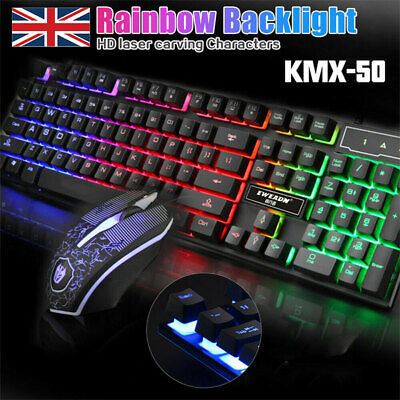 Led Gaming Keyboard + Mouse Usb Wired Rgb Colour Back Light Up Rainbow Pc Laptop • 10.99£