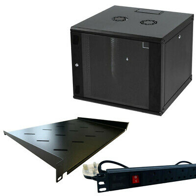 9u 600mm 19  Black Wall Mounted Data Cabinet, C/w 300mm Shelf & 6 Way PDU • 500£