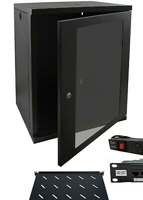 18u 550mm 19  Black Wall Mounted Data Cabinet,6way PDU & Cat5 Panel, 270mm Shelf • 500£