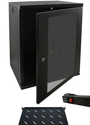 15u 600mm 19  Black Wall Mounted Data Cabinet, C/w 270mm Shelf & 4 Way PDU • 216.42£
