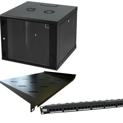 9u 600mm 19  Black Wall Mounted Data Cabinet, C/w Cat6 Panel & 300mm Shelf • 500£