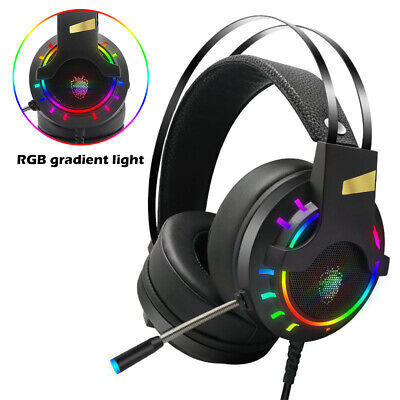 Rainbow LED Gaming Headset Headphones With Microphone For PC Laptop PS4 Xbox One • 14.59£