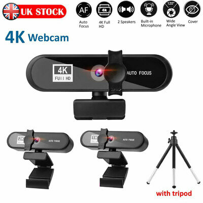 4K HD Autofocus USB Webcam Camera W/Microphone For PC Video Calling Conference • 18.59£