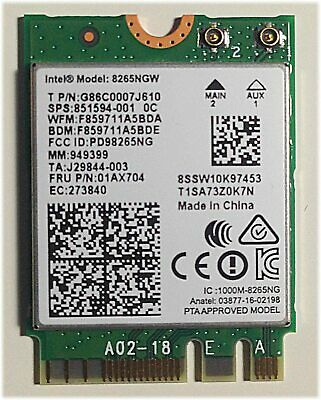 Intel 8265 Dual Band Wireless Card For M.2 8265AC 8265NGW Laptop WiFi • 8.99£