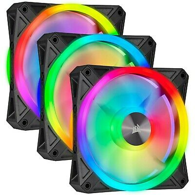Corsair ICUE QL120 RGB 120mm PWM Triple Fan Kit With Lighting Node CORE • 61£